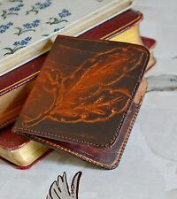 small leather wallet note book ELVEN elf NYMPH larp ACCESSORY oak leaf EMBOSSED