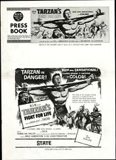 TARZAN'S FIGHT FOR LIFE pressbook, Gordon Scott, Eve Brent -----PLUS POSTER-----