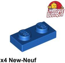 Lego - 4x Plaque Plate 1x2 2x1 bleu/blue 3023 NEUF