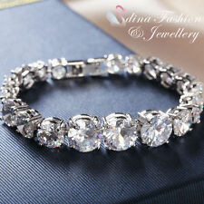 Diamond Tennis White Gold Plated Fashion Bracelets