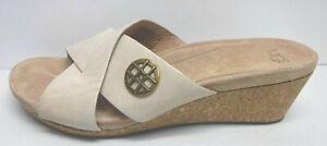 Ugg Australia Size 10 Beige Leather Cork Wedge Heels New Womens Shoes