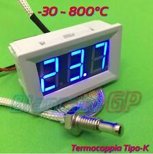 Termometro -30 ~ 800°C Cornice bianca sonda termocoppia tipo K 12V DC LED blu