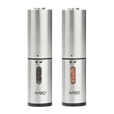 Electric Salt Pepper Grinder Mill Set Adjustable Coarseness Stainless Steel 2PC
