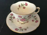 BONE CHINA CUP & SAUCER BY H M SUTHERLAND PINK ROSES GOLD TRIM