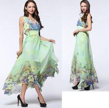 Women lady Long Maxi V Sleeveless Evening Party Chiffon Print dress Plus Size 24