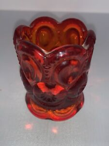 Vintage L. E. SMITH Moon And Stars Red Glass Votive Toothpick Holder