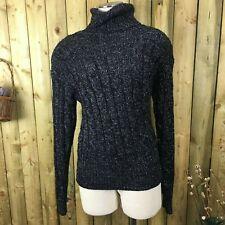 Vintage 80s Black & Silver Metallic Liz Claiborne Turtleneck Sweater Medium