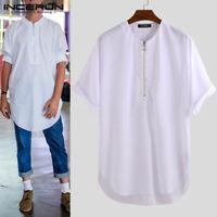 INCERUN Mens Longline Zipper Shirt Long Body Top Tees Tall Elongated T-shirts UK
