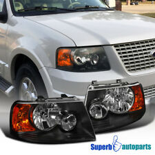 2003-2006 Ford Expedition Black Headlights Clear Lens Headlamps Replacement