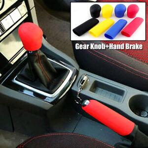 2x Silicone Car Gear Head Shift Knob Handbrake Cover Non Slip Grip Handle Case