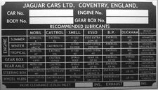 JAGUAR E-TYPE XK Mk1 Mk2 S TAG ID SPEC ALL-BLANK-VIN-CHASSIS-PLATES REPLACEMENT