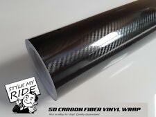 5M x 1.5M 5D Carbon Fibre Fiber Vinyl Wrap w/Air Release Bubble Free Application