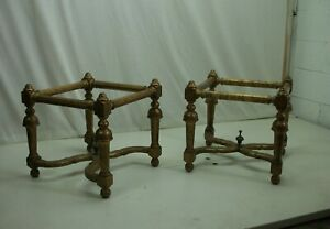 Matching Pair of Gilded Italian glass top Tables