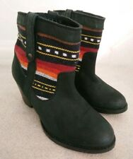 Miss Selfridge Black Leather Aztec Tapestry Kilim Boots 3 Festival Boho Navajo