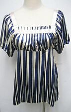 New Nicole Benisti Signature Collection Silk striped tie back Blouse Top, size S