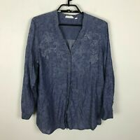 J. Jill Uncommon Threads Chambray Blouse Size L Floral Blue Long Sleeve Womens