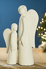 Skulptur 2 Stück Engel Engelsfigur Dekofigur Steinoptik creme Engelduo