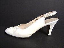 Vintage Ferragamo Slingback Heels w/Cut-Out Snakeskin Detail in Bone Sz 7.5 AA