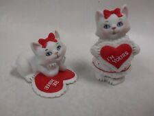 Set of 2 Rare Vintage Porcelain Lefton Cat Kitten Valentine Hearts Figurines