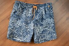 LANDS END Men's Blue Print Mesh Lined Swim Trunks Shorts - Size XL (40-42)