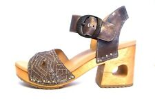 Dansko Odele Denim Metallic Leather Open Toe Block Heel Sandal 38 $190