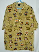 AVIREX men's patches print button front MEDIUM shirt military-inspired