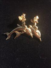 Signed Kirks Folly Dolphin Cherub Angel Gold Tone Brooch Dangle Seahorse Rhinest