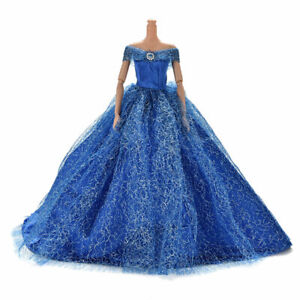 Barbie Steffi Puppe Brautkleid Prinzessin Kleid Kleidung Hochzeitskleid blau y4