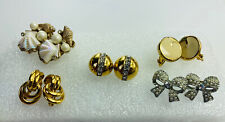 Vintage Earrings Gold Tone Seashell Bows Monet Napier Marvella Lot of 5 Costume