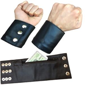 Leather Wrist Wallet With Zip Pocket For Keys or Money Cards Cowhide Leather