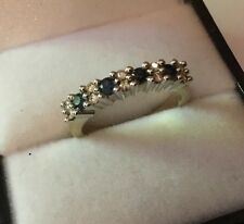 Hallmarked 9ct 9k Gold Diamond Sapphire Eternity Band Ring