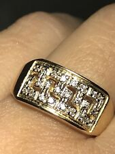 Gold Ring Band 14k Yellow Simulated Diamond Aztec 8 7 6 9 10 9.30mm Mens Womens