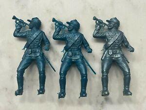 "Vintage 1950s MPC Civil War Metallic Blue Union Bugler 2"" Plastic Soldier Lot"
