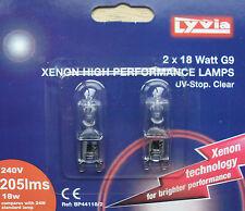 Xenon cápsula bombillas, lámparas 18w G9 Base, uv-stop transparente, 240v, Pack 2 Por Lyvia