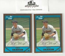 2007 Bowman Draft Gold Border CHARLIE CULBERSON Rookie RC Lot X2 #BDPP52 N/M.
