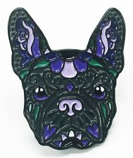 French Bulldog Black Purple Sugar Skull Tattoo Breed Dog Lover Enamel Lapel Pin