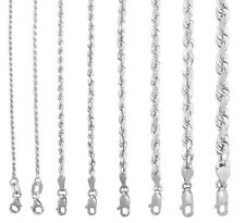 "10K White Gold 1.5mm-7mm Diamond Cut Solid Rope Chain Pendant Necklace 16""- 30"""