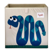 3 Sprouts Kids Childrens Foldable Fabric Storage Cube Bin Box, Blue Snake Design