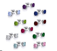 10 PAIR NEW 18K WHITE GOLD-PLATED STUD EARRINGS with SWAROVSKI ELEMENTS
