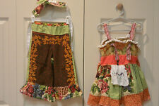 Handmade Apron Knot Top Dress & Ruffle Pants Outfit Autumn Fall Thanksgiving 3T