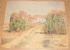 Corn Field & House Landscape Watercolor-1964-Otto Rothenburgh