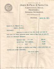 1911 JOHN H PRAY & SONS vintage signed letter & printed rug samples (Boston MA)