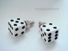 2 Custom WHiTE DICE License Plate Frame BOLTS Screws Caps for motorcycle/chopper