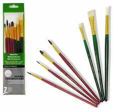 DALER ROWNEY SIMPLY 7 NATURAL HAIR ARTISTS BRUSH SET FOR WATERCOLOUR OIL ACRYLIC