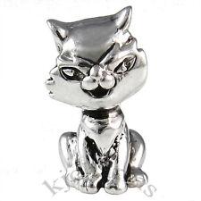 Kitten Cat Silver European Spacer Charm Bead For Bracelet Necklace EB643