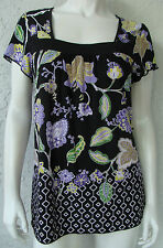 NOTATIONS Top Black Purple Rain Flowers Short Sleeve Square Neck Size Small NWT