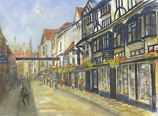 Stonegate, York,  Hand Signed, Titled and Mounted Print with COA