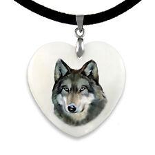 Indianischer Wolf - Perlmutt Herz Anhänger mit Samtkette CPP003
