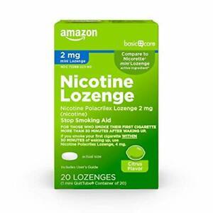 Basic Care Mini Nicotine Lozenge, 2 mg, Stop Smoking Aid, 20 Count