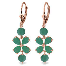 Womens 5.32 CTW 14K Solid Rose Gold Chandelier Earrings Natural Green Emerald